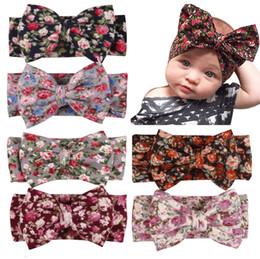 Wholesale blue ribbon wholesale - Newborn contton floral Hairband Rabbit Bowknot Headband Kids Headwear Flowers Printed YL