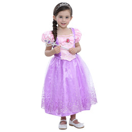 Wholesale Rapunzel Tangled Cosplay - 2017 Baby Girls Rapunzel Fancy Dress Costume Kids Princess Outfit Cosplay Dress For Girl Tangled Princess Purple Tulle Dress free shipping