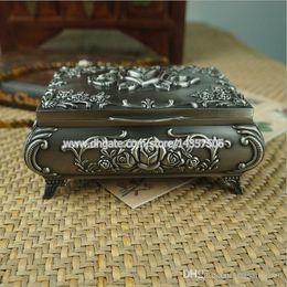 Wholesale Vintage Jewelry Casket - Vintage Metal Jewelry Storage Box Flower Rose for Princess Silver Color Jewelry Casket Trinket Box Wedding Favors Size Medium
