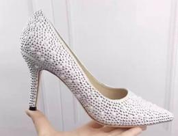 Wholesale Bling Rhinestone Shoes - Luxury Design Bling Rhinestones 2017 Women New Brand High Heel Fashion Pumpls Pointed Toe Business Dress Shoes