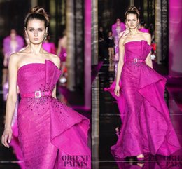Wholesale Real Picture Zuhair Murad - Newest Couture Zuhair Murad Red Carpet Evening Dresses Mermaid Backless Fuchsia Lace Prom Dress Latest Party Gown Designs