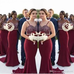 Wholesale Spaghetti Shorts - African Burgundy Long Bridesmaid Dresses Lace Appliques Beaded Waist Mermaid Maid Of Honor Gowns Wedding Guest Formal Party Dress Cheap