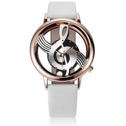 Wholesale Mm Notes - Unique Woman Quartz Analog Hollow Musical Note Style leather WristWatch fashion ladies Gfit Casual watch female Relogio Feminino
