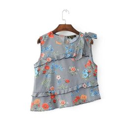 Wholesale Ladies Blouses For Spring - Europe and the United States short sleeves blouse Ladies Printed Tank Top spring summer 2017 tops for women