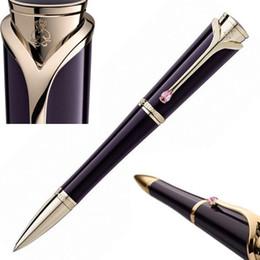 Caneta monaco on-line-Roxo escuro Princesse Graça de Mônaco Roller Ball Pen Papelaria material de escritório escrita elegante mulheres marca de luxo caneta de presente