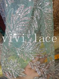 Wholesale Mint Colored Dresses - 5yards HL376 silver leaf hand glued print glitter mint green tulle african India dress fabric for sawing  fashion design