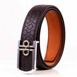Wholesale Types Belts Men - Famous Brand PU Skin Waist For Men Casual Feragamo smooth buckle Cow Skin Waist Business type leisure leather Are men and women's brand