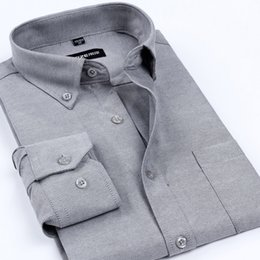 Wholesale business casual clothes for men - Wholesale- New Arrival Oxford Men's Brand Dress Shirts Men Non-Iron Solid Color Business Formal Shirt Classic Style Clothes For Men