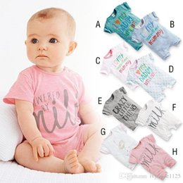 Wholesale Design Romper Infant - RMY17 NEW 8 Design infant Kids Milk Letter style Cotton Cool short sleeve Romper baby Climb clothing boy girl Romper free ship