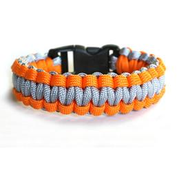 Wholesale Wholesale Paracord Survival Bracelets - 50pcs Outdoor Camping Hiking Survival Bracelet Escape Life-saving Bracelet Paracord Hand Made With Plastic Buckle Mix Color