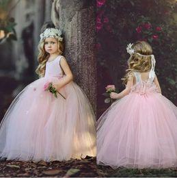 Wholesale Dress First Comunion - O-Neck Ball Gown Flower Girls Dresses Holy First Communion Dresses Beaded Pink Vestidos Comunion Mermaid Kids Birthday Dresses