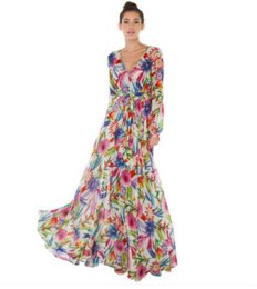 Wholesale Big Flower Tattoos - 2017 CHEAP Spring and summer tattoo flowers printed sexy V-neck lantern sleeves fold big evening dress