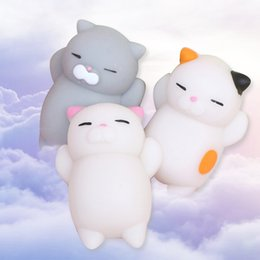 Wholesale Cat Squeeze - 10pcs Mini Squeeze Toy Squishy cat Cute Kawaii doll Squeeze Stretchy Animal Healing Stress Hand Fidget vent Toys Paste on for cellphone Case