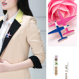 Wholesale Metal Clothes Pins - 2017 Cute Little Airplane Brooch Enamel 18K Gold Plated Metal Brooches Pins Model Fighter Aircraft Jewelry Suit Clothes Clips