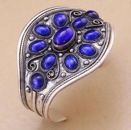 Wholesale Carving Ceramics - Classic Lapis Lazuli Cuff Bracelet Tibet Silver Carved Flower Woman Gift Fashion