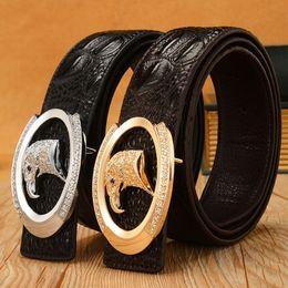 Wholesale Fashion Design Mens Belt Buckle - New Arrival Mens Genuine Leather Belt Fashion Leather Belt Men Luxury Brand Designs Cowhide Straps Crocodile Pattern Belt