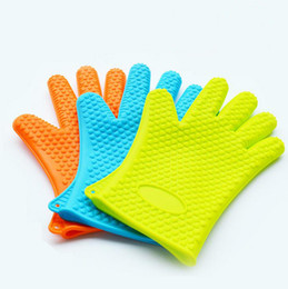 Wholesale Thick Glove Mitt - Food grade Heat Resistant thick Silicone Kitchen barbecue oven glove Cooking BBQ Grill Glove Oven Mitt Baking glove c056