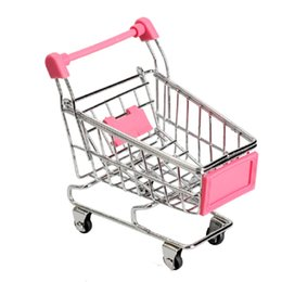 Wholesale Office Phones - Wholesale- 1Pcs Mini Supermarket Shopping Trolley Phone Holder Office Desk Storage Shopping Cart Toy Handcart Eco-Friendly Basket