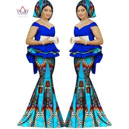 Wholesale White Ruffle Panels - 2017 Spring skirt set african designed clothing traditional bazin print Bazin Riche plus size skirt set evening dress WY1312