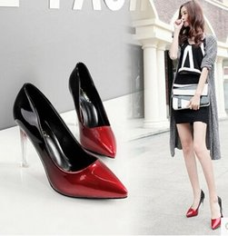 Wholesale Glass Dress Shoes - New Arrival Hot Sale Specials Sweet Girl Good Quality Noble Elegant Pointed Mix Color Sexy Gradient Glass Club Party Heels Shoes EU34-39
