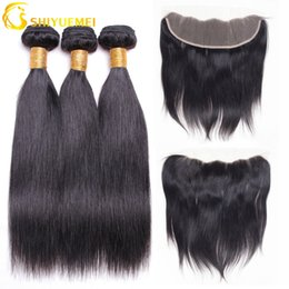 Wholesale Ratio Parts - Silk Straight Remy Human Hair Bundles With Lace Frontals 1B# Color For Hair Salon High Ratio Longest Hair PCT 15% Free Part