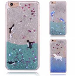 Telefones dolphin on-line-Areia movediça bling líquido glitter golfinho pinguim animal imagem rígido pc phone case capa para iphone 5s 6 s 7 8 mais samsung s6 s7 edge