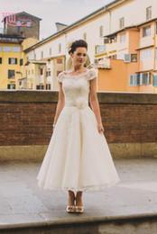 Wholesale S Plus Flower Cover - Vintage Tea Length Country Beach Wedding Dresses Cheap Cap Sleeves Short Plus Size 1950's Bridal Gowns Custom 2016 Vestidos De Noivas