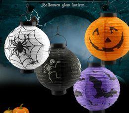 Wholesale Festival Lights For Sale - LED Halloween Pumpkin Lights Lamp Paper Lantern Spiders Bats Skull Pattern Decoration Bulbs Ballons Lamps for Kids Festival Sale
