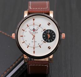 Wholesale Movement Order - Dual Movements Quartz Wristwatch Unique Men Women Large Dial Face Multi TIme Zone Fashion Leather Wristwatch Sample Order Newest Design Tag