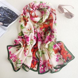 Wholesale Flower Hijabs - 180*70cm Flowers Print Lady Mulberry Silk Big Rectangle Scarf Floral-Print 100% Pure Silk Pashmina Shawl Wraps Fashion Hijabs Capes 2017