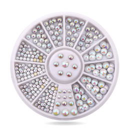 Wholesale Studs For Nail Art - Wholesale- hottest Japanese wheel decoration fashion mix sizes 3D Colorful Opal AB metal rivet stud for Nail Art