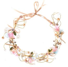 Wholesale Wedding Bridesmaid Hand Accessories - New hot hand-made bridal bowknot flower wreaths headband pearl bridesmaid headdress hair band children hair accessories