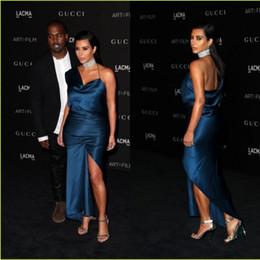 Kardashian vestidos de tapete vermelho on-line-Tapete Vermelho Sexy celebridade Vestido CMA Kim Kardashian um ombro Bainha vestidos de noite formal Cocktail Party Dress Women Wear