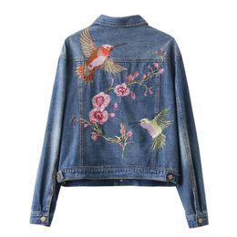 2019 giacca da donna floreale uccello 2017 Nuove donne di modo breve Jeans Bomber Giacche Lady Luxury Floral Birds ricamo Manica lunga Turn-down Collar Denim Coats giacca da donna floreale uccello economici