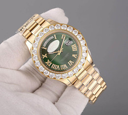 Wholesale AAA Luxury Brand Super President K Gold Day Date Men s Watch Big Diamond Prong Set Sapphire original clasp green face fashion Mens Watches
