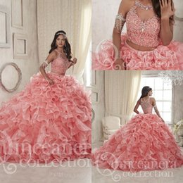 Wholesale Detachable Quinceanera Dress Gown - Gorgeous 2017 Coral Two Pieces Ball Gowns Quinceanera Dresses Sheer Neck Lace-up Beaded Crystals Tiers Detachable Train Formal Prom Gowns