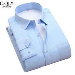 Wholesale Uomo Shirt Xl - Wholesale- Fashion New Winter Thicken Solid Men's Dress Shirts Long Sleeve Turn Down Collar Social Casual Business Shirt Camicia Uomo Blue