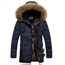 Wholesale Vintage Coat Xs - Wholesale- 2016 Winter New Men Down Coat Brand Clothing With Fur Collar Casual Hooded Thick Warm Duck Down Jacket Men