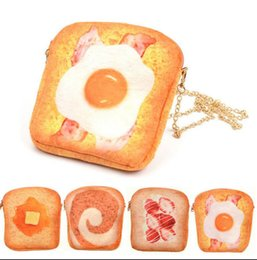 Wholesale Toast Bread Bag - 3D Simulation personalized printed Butter Toast Bread Crossbody Purse Wallet Pouch Cell Phone Messenger Bag Zip Coin Purse kka2748