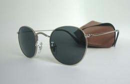gafas de sol de forma redonda al por mayor Rebajas 1 par de alta calidad para mujer gafas de sol redondas gafas gafas de sol clásicas de metal plateado negro 50 mm lentes de cristal vienen con caja de Brown