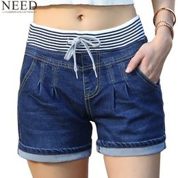 Wholesale plus size high waisted jeans - Wholesale- 2017 Casual High Waist Shorts Women High Waisted Denim Shorts Elastic Waist Jeans Shorts Plus Size