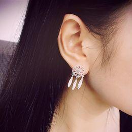 Wholesale Earrings Indian Tassel - Silver Plated Dream Net Feather Earring Indian water drops tassel earring Dreamcatcher stud earring