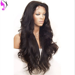 Wholesale Super Wave Lace Front - New super wave black color #2  grey blonde wavy 180% density heat resistant synthetic lace front wig free shipping