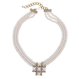 Wholesale Ladies Chockers - 2016 Real Beaded Necklaces Party Colares Hot Sale Handmade Pearls Necklace Women Multi Layer Cute Chockers Necklaces Ladies Fine Pearl