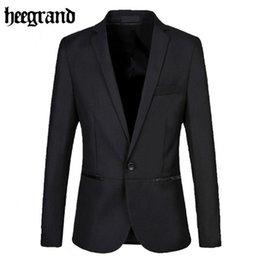 Wholesale Grand Big - Wholesale- HEE GRAND 2017 New Slim Men Solid Black Big Size Casual Blazers High Quality Fashion Full Sleeve Men Blazers MWX315