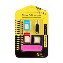 Teléfonos móviles delgados del metal online-Nuevo adaptador de tarjeta SIM de metal de aluminio Tarjeta Nano Slim a Micro Standard Slim 5 en 1 con pin de tarjeta SIM para todos los dispositivos de teléfonos móviles al por menor
