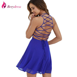 Wholesale Lace Skater Dresses - Berydress Sexy Women Summer Dress Cross Lace Up Backless Spaghetti Strap Short Skater Dress Chiffon A Line Sleeveless Mini Dress q170636