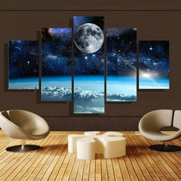Wholesale Moon Canvas Wall Art - 5pcs set Unframed Moon and Star Universe Scenery Oil Painting On Canvas Wall Art Painting Art Picture For Home and Living Room Decor