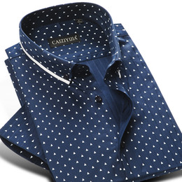 polka dot buttons großhandel Rabatt Großhandel-CAIZIYIJIA Sommer 2017 Männer 100% Baumwolle Mini-Polka Dot Pattern Dress Shirt Kurzarm Weiche Button-down Casual Slim-Fit Hemden