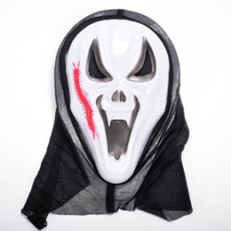 Wholesale Ghost Scream Mask - Halloween Party Masks Scary Scream Ghost Mask Adult Party Cosplay Masks Volto Masquerade Face Man Gift Horrible with Hood Festival